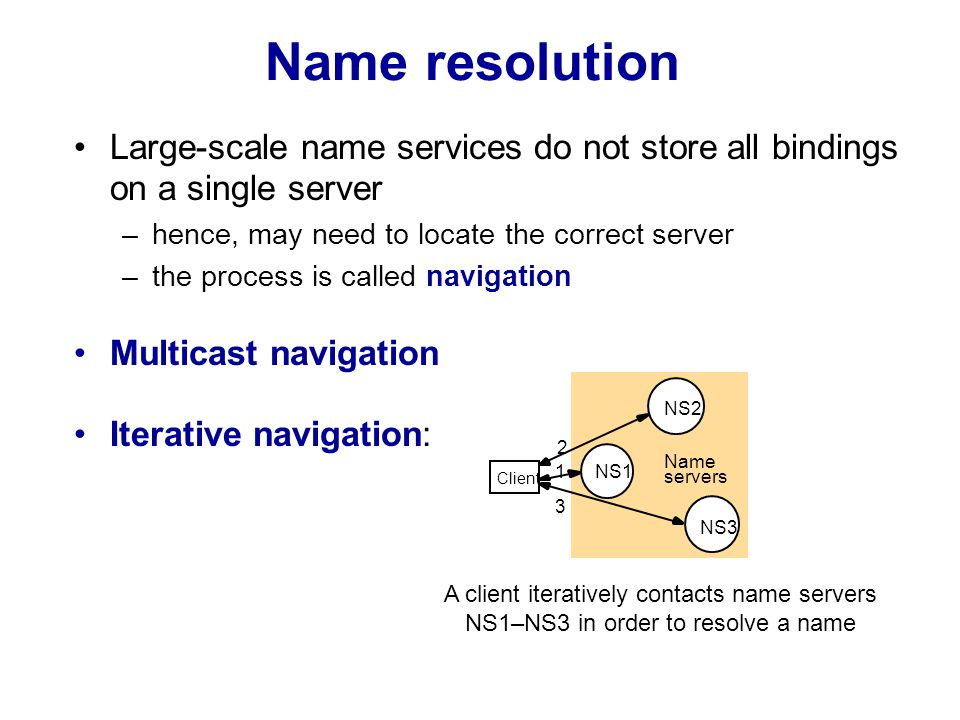 Name resolution (contd.) Iterative server-controlled resolution: 1 2 3 4 client NS2 NS1 NS3 Non-recursive server-controlled Recursive server-controlled 1 2 3 5 4 client NS2 NS1 NS3 A name server NS1 communicates with other name servers on behalf of a client © Pearson Education 2005