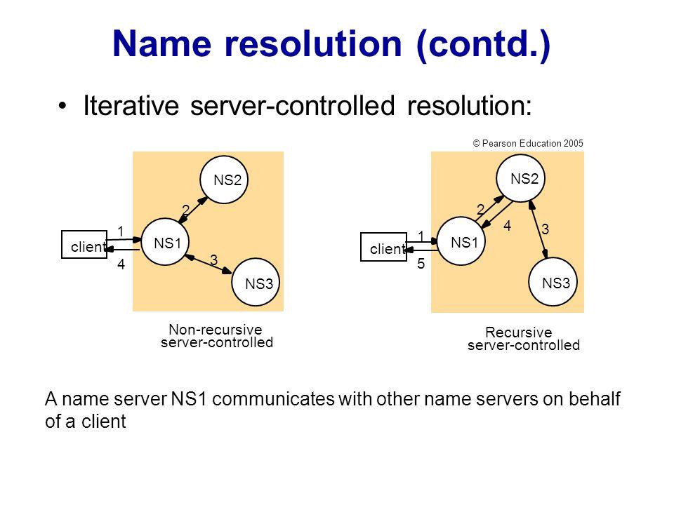 Name resolution (contd.) Iterative server-controlled resolution: 1 2 3 4 client NS2 NS1 NS3 Non-recursive server-controlled Recursive server-controlle