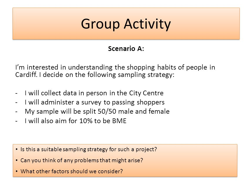 Group Activity Scenario A: I'm interested in understanding the shopping habits of people in Cardiff. I decide on the following sampling strategy: -I w