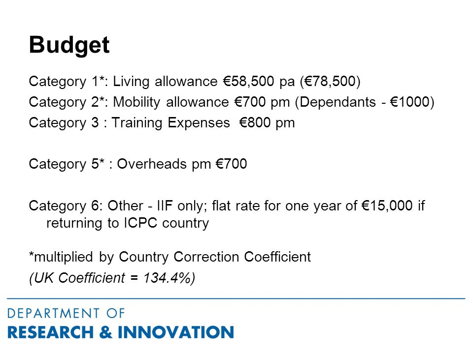 Budget Category 1*: Living allowance €58,500 pa (€78,500) Category 2*: Mobility allowance €700 pm (Dependants - €1000) Category 3 : Training Expenses €800 pm Category 5* : Overheads pm €700 Category 6: Other - IIF only; flat rate for one year of €15,000 if returning to ICPC country *multiplied by Country Correction Coefficient (UK Coefficient = 134.4%)