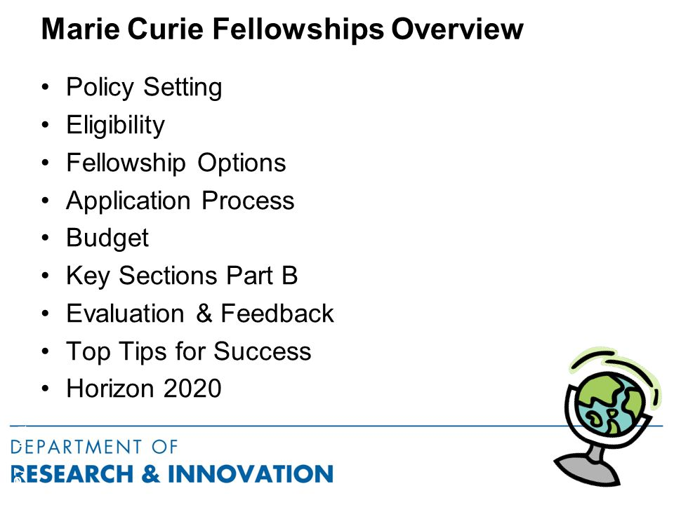 Marie Curie Fellowships Overview Policy Setting Eligibility Fellowship Options Application Process Budget Key Sections Part B Evaluation & Feedback Top Tips for Success Horizon 2020 FP7 – Marie Curie Actions