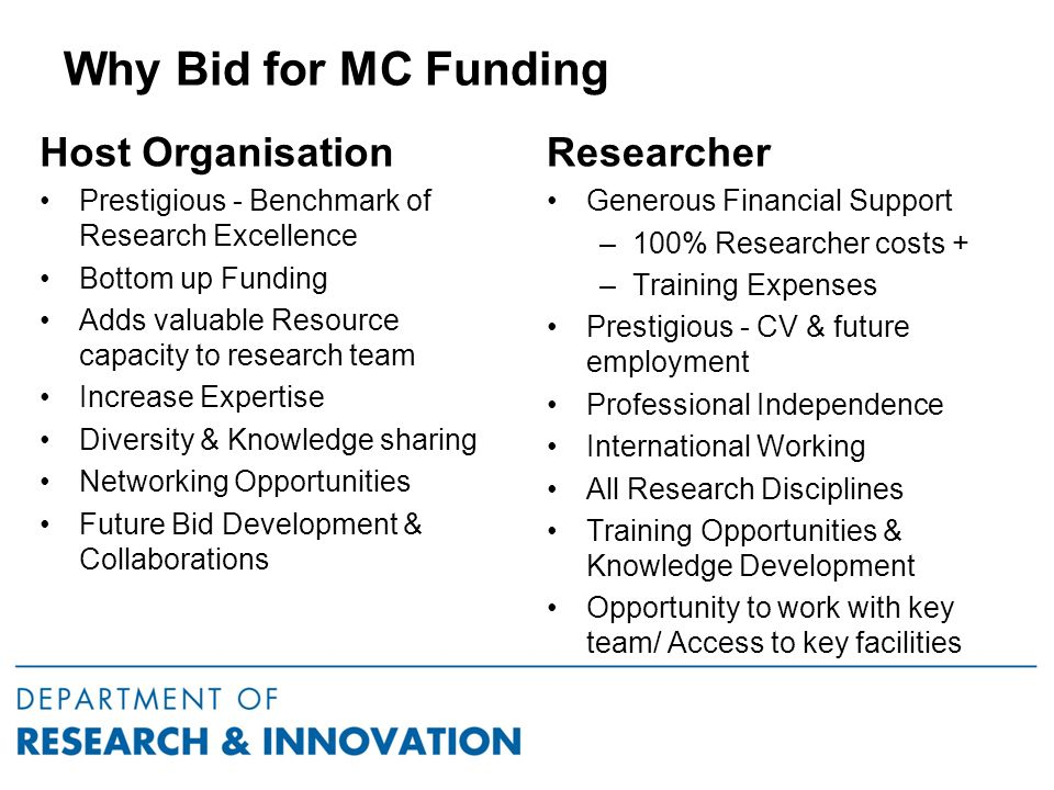 Why Bid for MC Funding Host Organisation Prestigious - Benchmark of Research Excellence Bottom up Funding Adds valuable Resource capacity to research team Increase Expertise Diversity & Knowledge sharing Networking Opportunities Future Bid Development & Collaborations Researcher Generous Financial Support –100% Researcher costs + –Training Expenses Prestigious - CV & future employment Professional Independence International Working All Research Disciplines Training Opportunities & Knowledge Development Opportunity to work with key team/ Access to key facilities