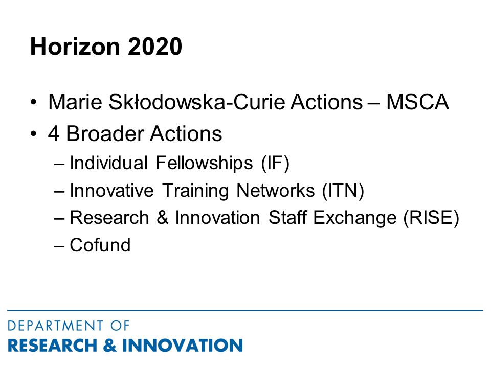 Horizon 2020 Marie Skłodowska-Curie Actions – MSCA 4 Broader Actions –Individual Fellowships (IF) –Innovative Training Networks (ITN) –Research & Innovation Staff Exchange (RISE) –Cofund