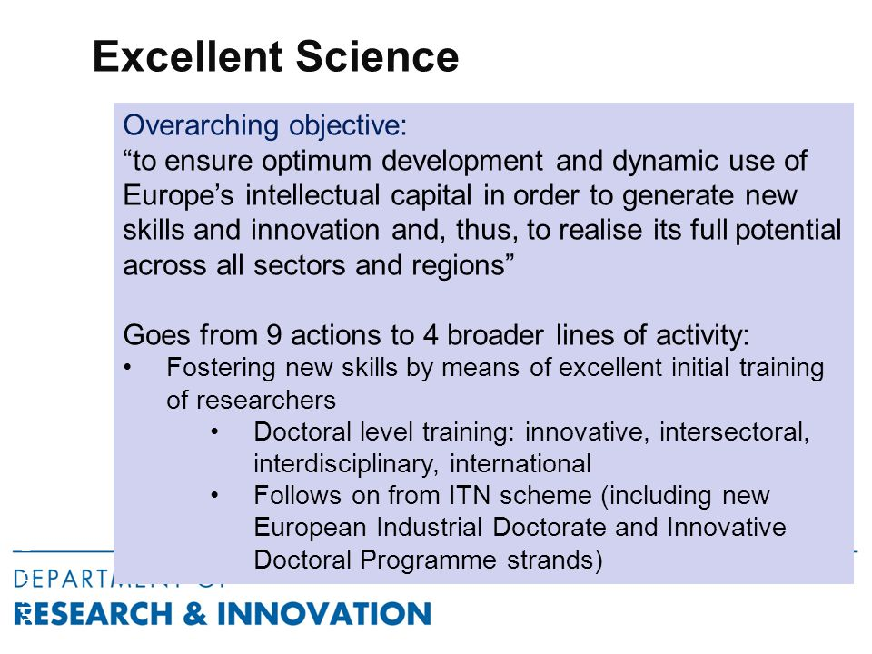 Excellent Science Horizon 2020 Overarching objective: to ensure optimum development and dynamic use of Europe's intellectual capital in order to generate new skills and innovation and, thus, to realise its full potential across all sectors and regions Goes from 9 actions to 4 broader lines of activity: Fostering new skills by means of excellent initial training of researchers Doctoral level training: innovative, intersectoral, interdisciplinary, international Follows on from ITN scheme (including new European Industrial Doctorate and Innovative Doctoral Programme strands)