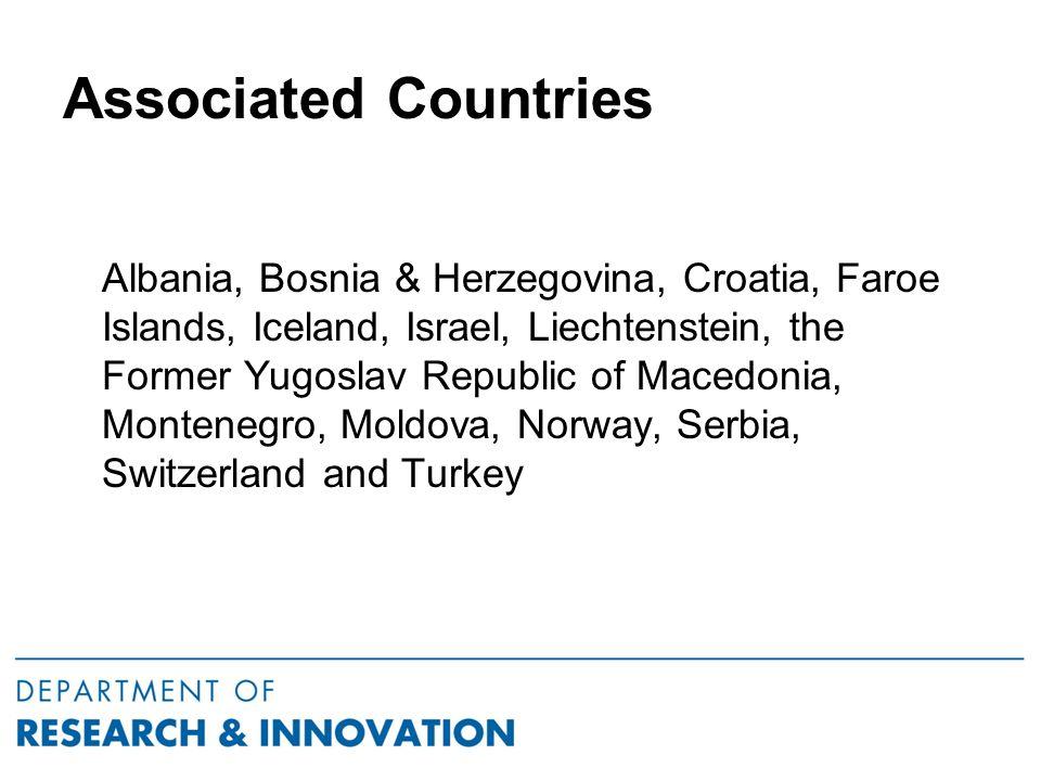 Associated Countries Albania, Bosnia & Herzegovina, Croatia, Faroe Islands, Iceland, Israel, Liechtenstein, the Former Yugoslav Republic of Macedonia, Montenegro, Moldova, Norway, Serbia, Switzerland and Turkey