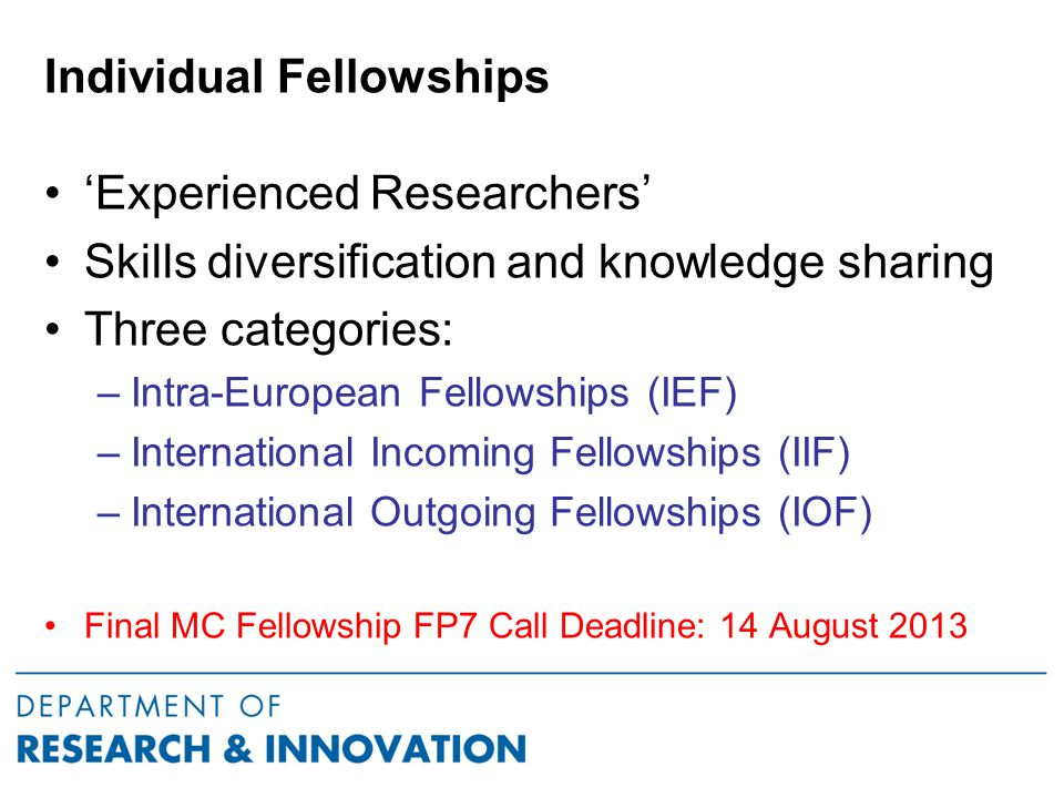 College Support for MC Fellows Develop Supportive Infrastructure for International Researchers Welcome events - designated personel for practical help Procedures for hosting international researchers PreArrival Support Arrival Checklist – meet from airport/ station Useful Contact Numbers Familiarisation activities / meeting key staff in 1st week Introduction to local area etc Researcher Responsibilities Handbook & academic contacts Plan each fellowship individually with respect to specific needs (work permit, visa, childcare etc.) Communicate this Infrastructure /Procedures to the researcher at the Proposal Writing stage & assist them to develop the Bid  Strong proposal with high chance to get funded  Successful experience & good feedback