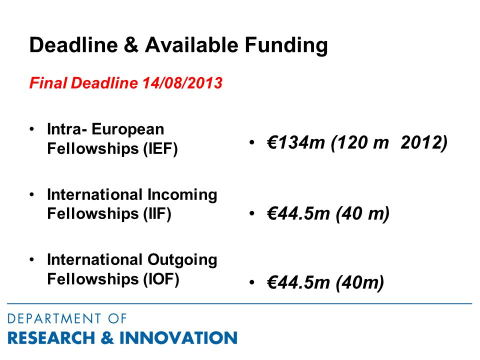 Deadline & Available Funding Final Deadline 14/08/2013 Intra- European Fellowships (IEF) International Incoming Fellowships (IIF) International Outgoing Fellowships (IOF) €134m (120 m 2012) €44.5m (40 m)