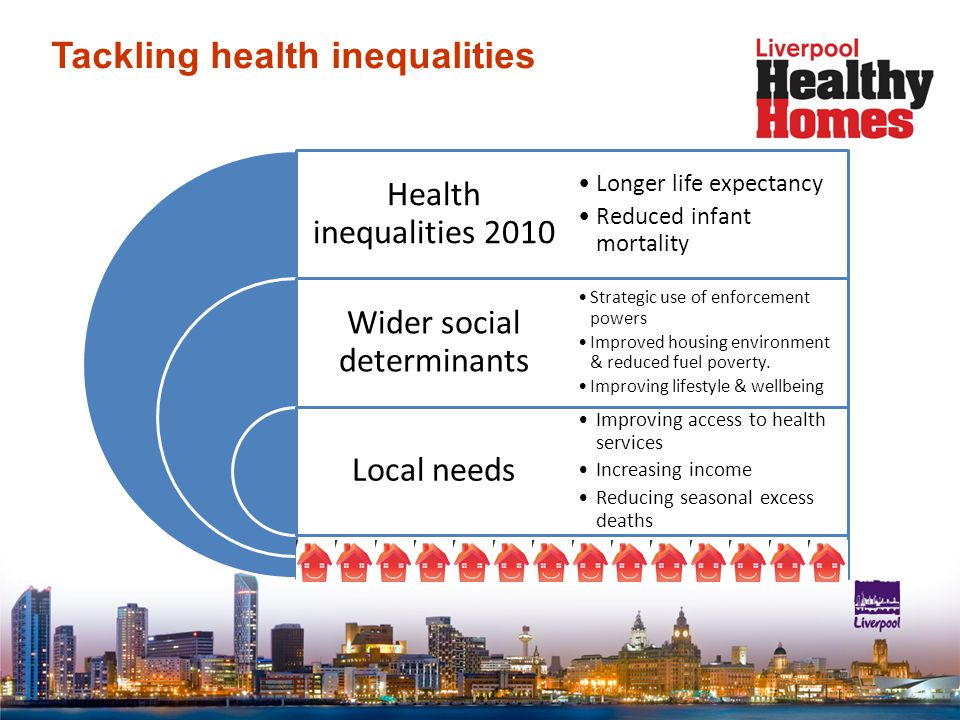 Tackling health inequalities Health inequalities 2010 Wider social determinants Local needs Longer life expectancy Reduced infant mortality Strategic use of enforcement powers Improved housing environment & reduced fuel poverty.
