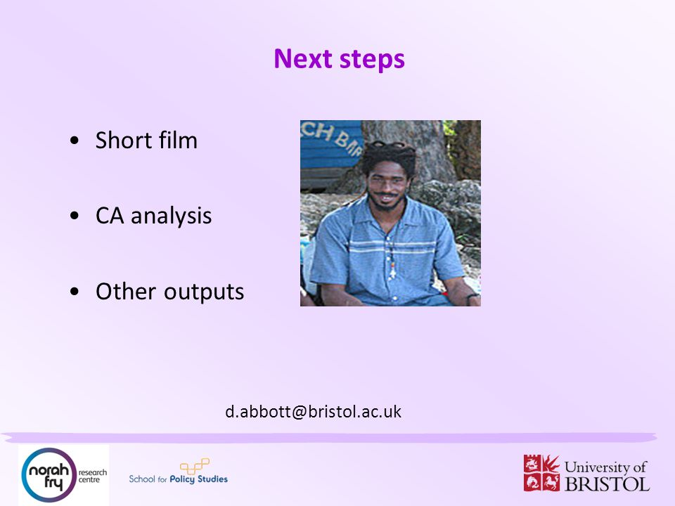 Next steps Short film CA analysis Other outputs d.abbott@bristol.ac.uk
