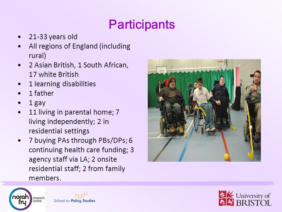 Participants 21-33 years old All regions of England (including rural) 2 Asian British, 1 South African, 17 white British 1 learning disabilities 1 father 1 gay 11 living in parental home; 7 living independently; 2 in residential settings 7 buying PAs through PBs/DPs; 6 continuing health care funding; 3 agency staff via LA; 2 onsite residential staff; 2 from family members.