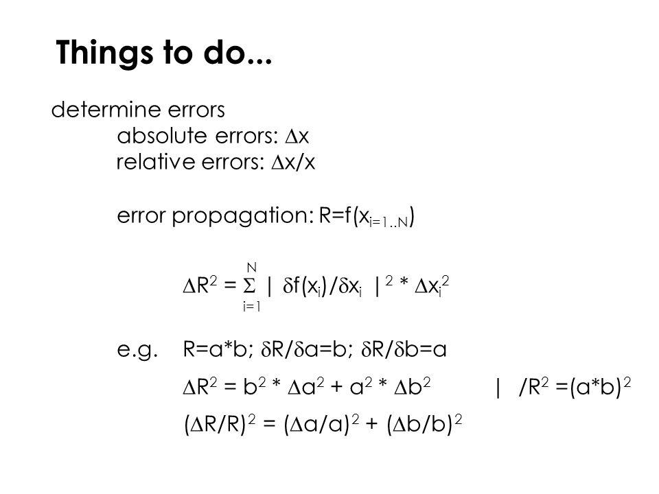 absolute errors:  x relative errors:  x/x error propagation: R=f(x i=1..N ) N  R 2 =  |  f(x i )/  x i | 2 *  x i 2 i=1 e.g.