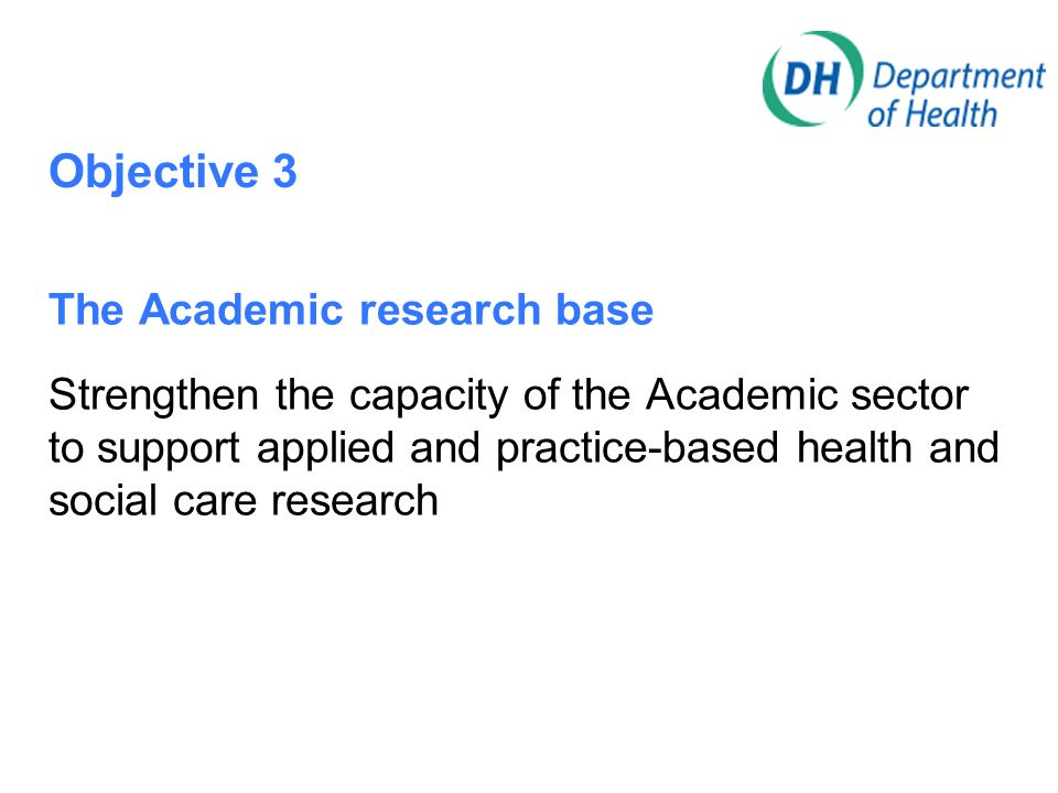Objective 3 The Academic research base Strengthen the capacity of the Academic sector to support applied and practice-based health and social care res