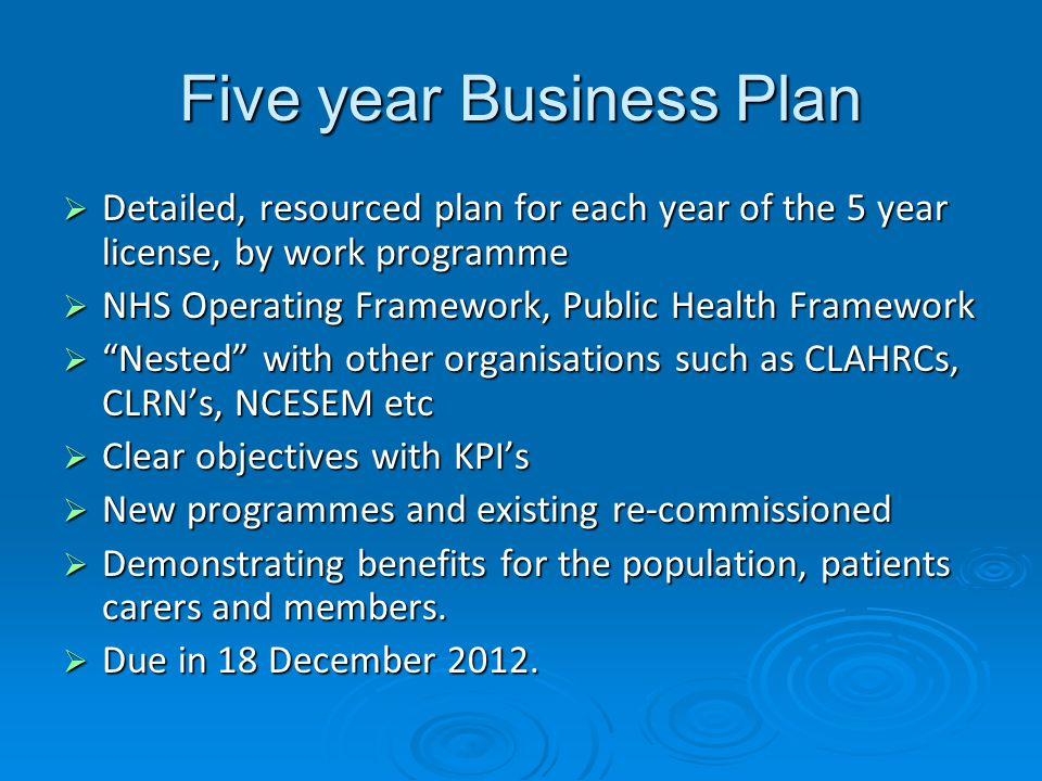 Five year Business Plan  Detailed, resourced plan for each year of the 5 year license, by work programme  NHS Operating Framework, Public Health Framework  Nested with other organisations such as CLAHRCs, CLRN's, NCESEM etc  Clear objectives with KPI's  New programmes and existing re-commissioned  Demonstrating benefits for the population, patients carers and members.