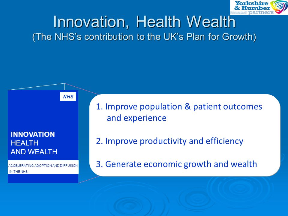 Summary  Y&H AHSN Operational from April 2013  Focus; Improving translation of Innovation, Health and Wealth  Building on existing valued programmes  Speeding up spread and adoption of best practice  Supporting member organisations  Building relationships with Industry