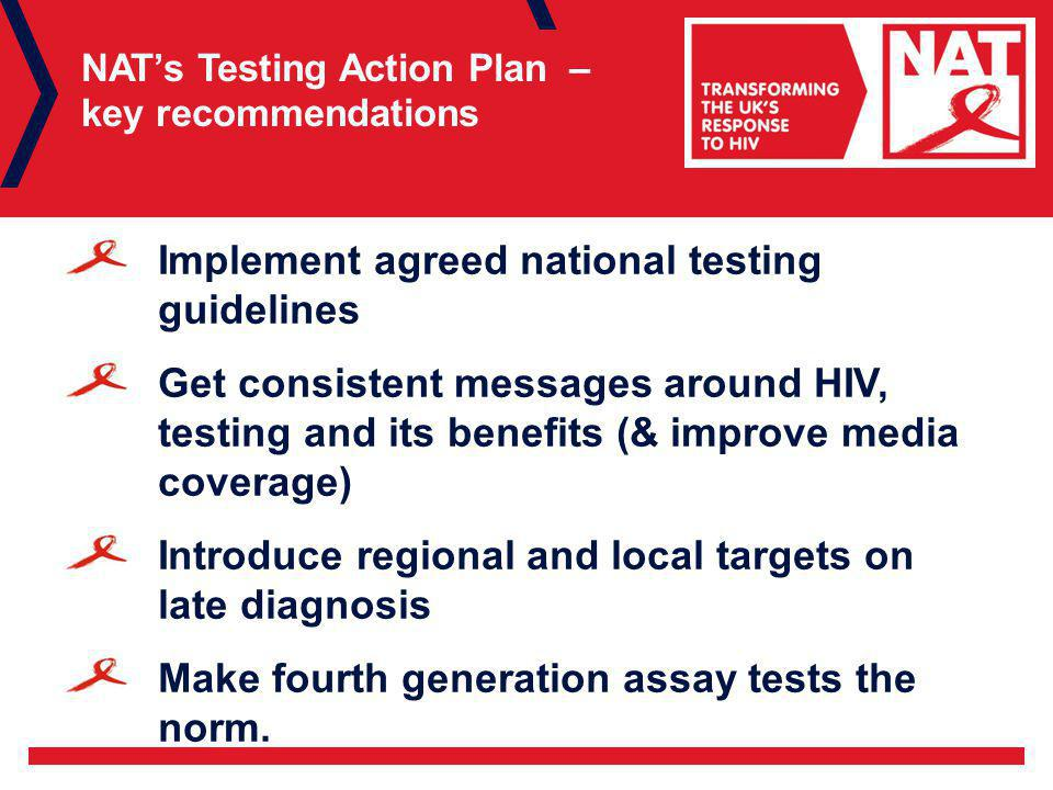 NAT's Testing Action Plan – key recommendations Implement agreed national testing guidelines Get consistent messages around HIV, testing and its benefits (& improve media coverage) Introduce regional and local targets on late diagnosis Make fourth generation assay tests the norm.