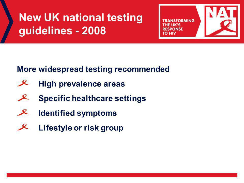 New UK national testing guidelines More widespread testing recommended High prevalence areas Specific healthcare settings Identified symptoms Lifestyle or risk group