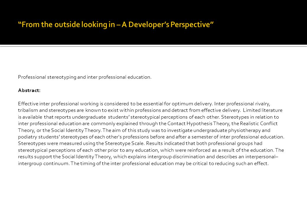 Professional stereotyping and inter professional education.