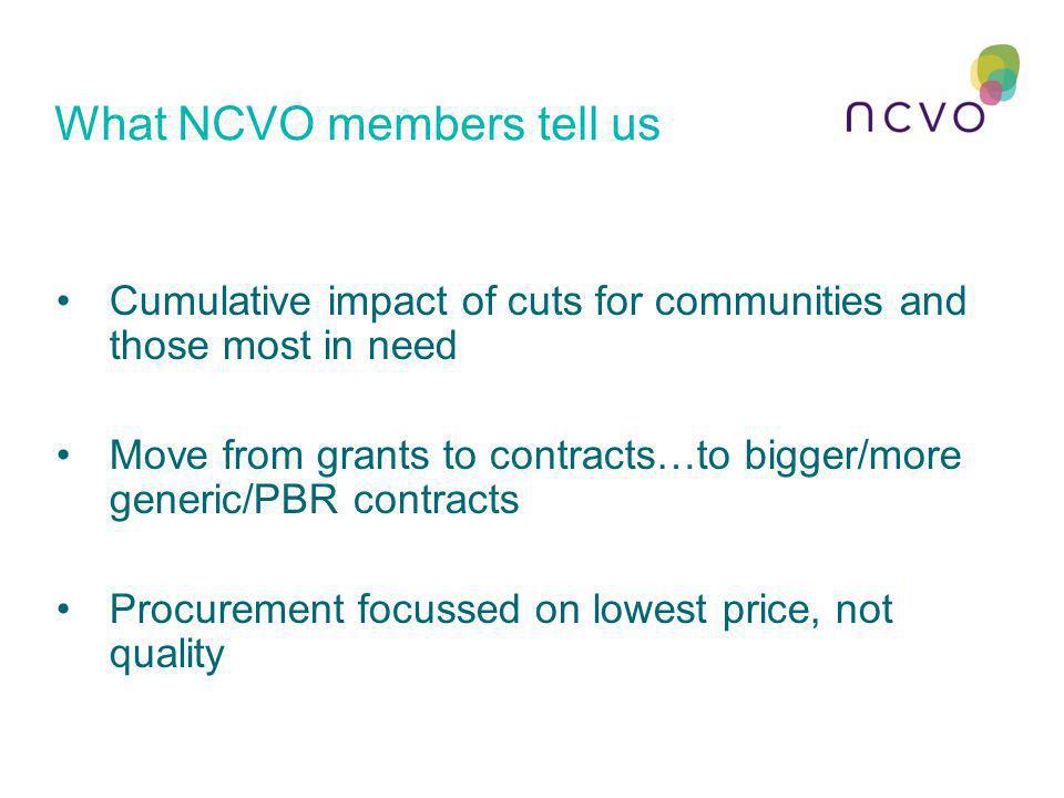 What NCVO members tell us Cumulative impact of cuts for communities and those most in need Move from grants to contracts…to bigger/more generic/PBR co