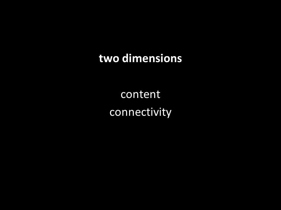 two dimensions content connectivity