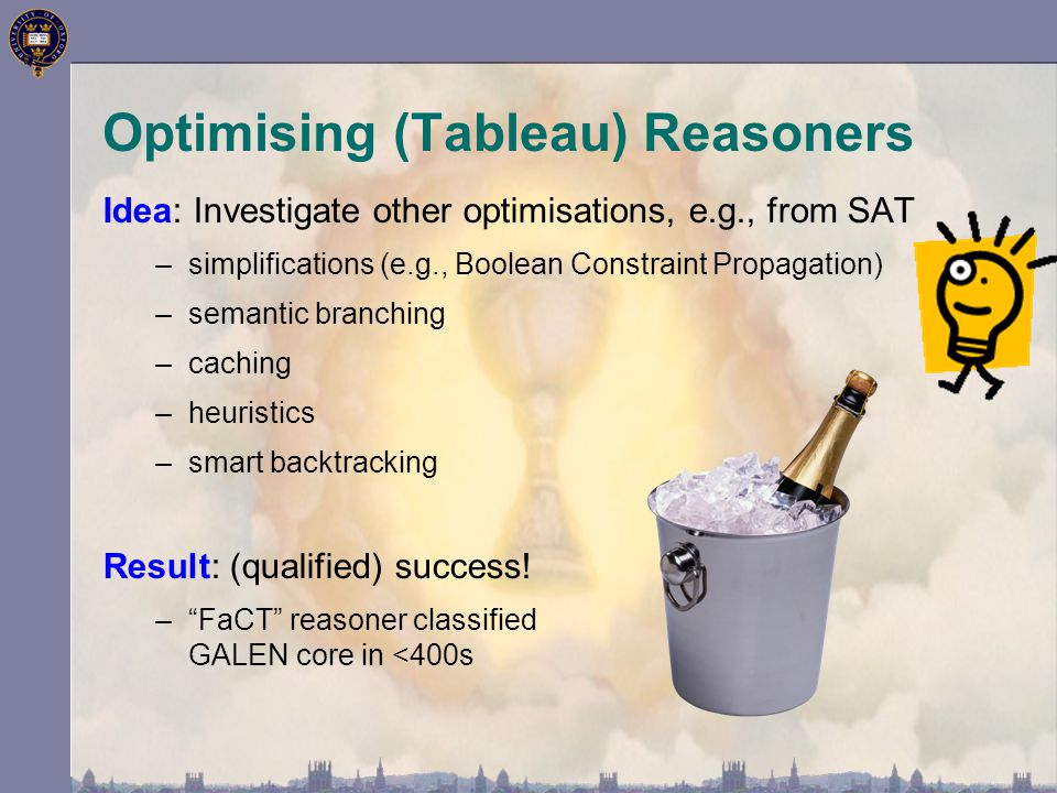 Optimising (Tableau) Reasoners Idea: Investigate other optimisations, e.g., from SAT –simplifications (e.g., Boolean Constraint Propagation) –semantic branching –caching –heuristics –smart backtracking Result: (qualified) success.