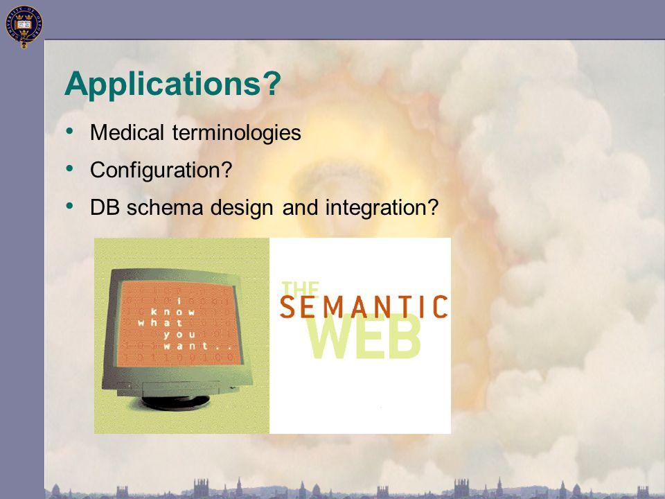 Applications Medical terminologies Configuration DB schema design and integration