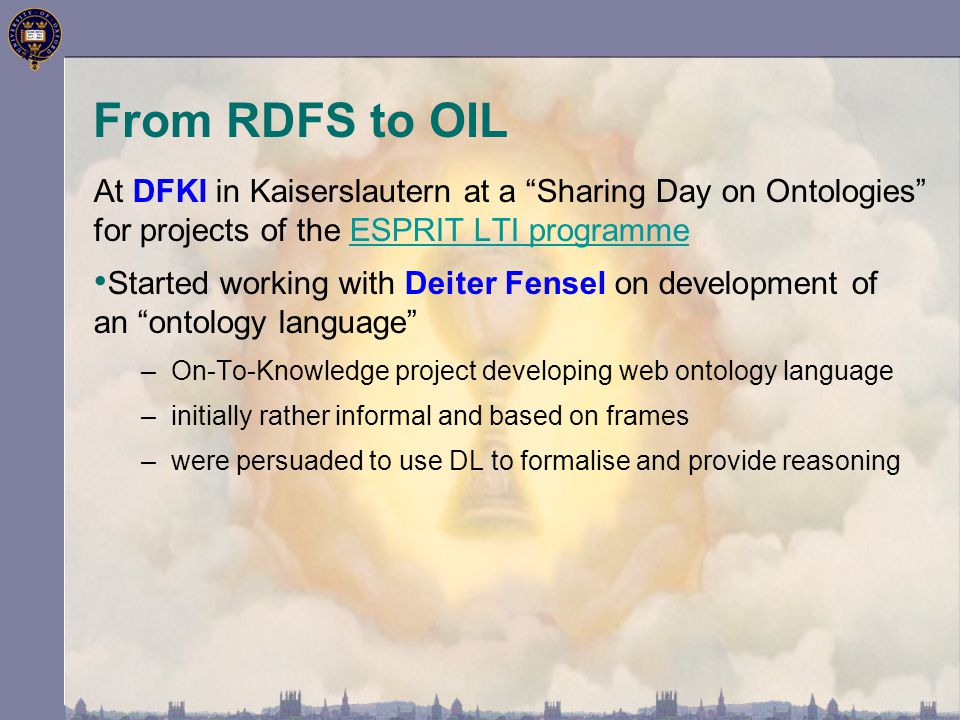 """At DFKI in Kaiserslautern at a """"Sharing Day on Ontologies"""" for projects of the ESPRIT LTI programmeESPRIT LTI programme Started working with Deiter Fe"""