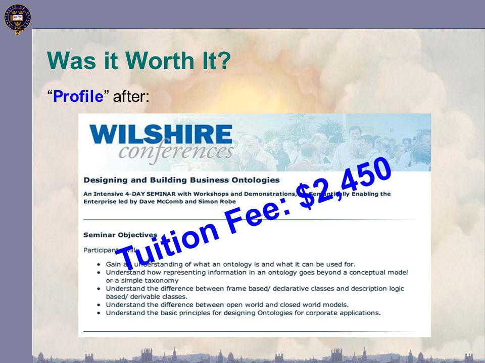 Was it Worth It Tuition Fee: $2,450 Profile after:
