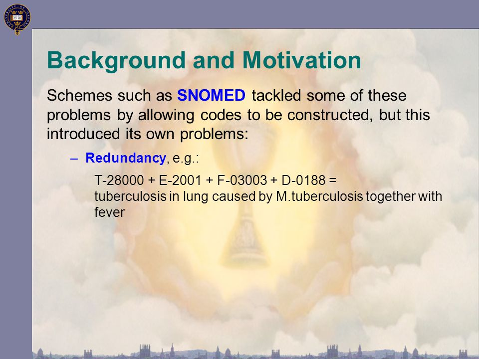 Schemes such as SNOMED tackled some of these problems by allowing codes to be constructed, but this introduced its own problems: –Redundancy, e.g.: T-