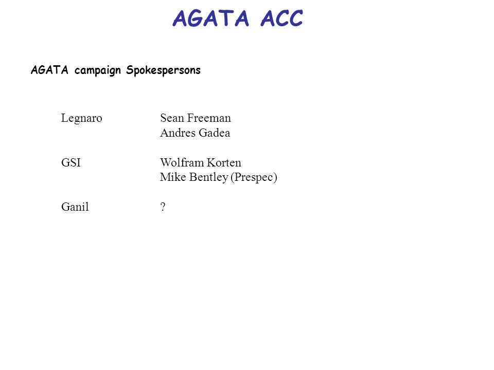 AGATA ACC AGATA campaign Spokespersons LegnaroSean Freeman Andres Gadea GSIWolfram Korten Mike Bentley (Prespec) Ganil?