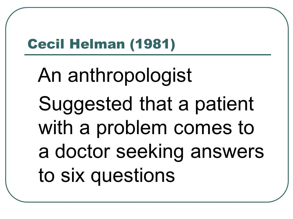 Cecil Helman (1981) An anthropologist Suggested that a patient with a problem comes to a doctor seeking answers to six questions