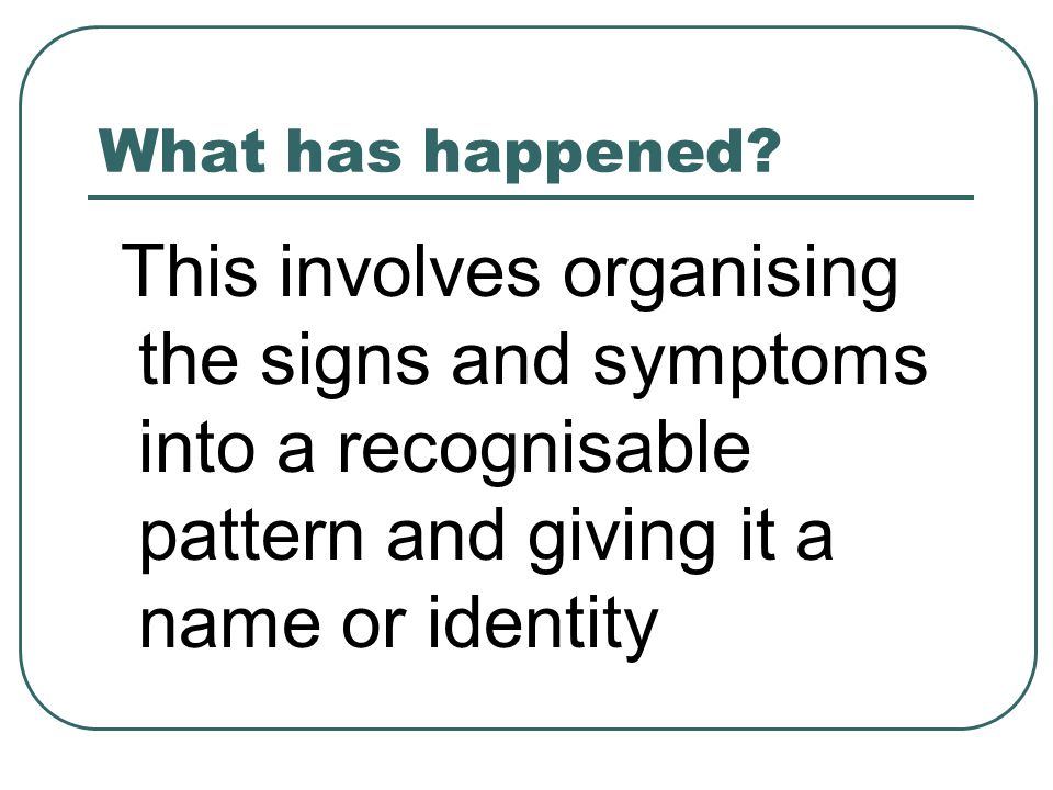 Why has it happened ? This is trying to find the aetiology or cause of the condition