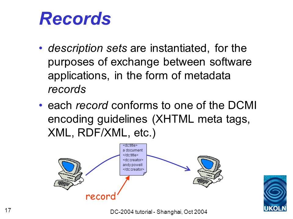 DC-2004 tutorial - Shanghai, Oct 2004 17 Records description sets are instantiated, for the purposes of exchange between software applications, in the form of metadata records each record conforms to one of the DCMI encoding guidelines (XHTML meta tags, XML, RDF/XML, etc.) a document andy powell record