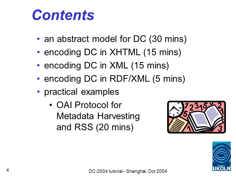 DC-2004 tutorial - Shanghai, Oct 2004 45 Encoding schemes encoding schemes should be implemented using the xsi:type attribute of the XML element for the property the name of the encoding scheme should be given as the attribute value, and should be in the form of an XML qualified name (QName): http://www.ukoln.ac.uk/