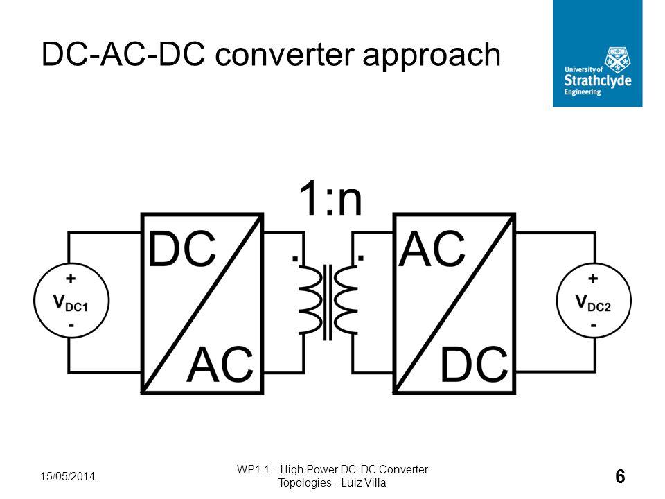 DC-AC-DC converter approach 15/05/2014 WP1.1 - High Power DC-DC Converter Topologies - Luiz Villa 6