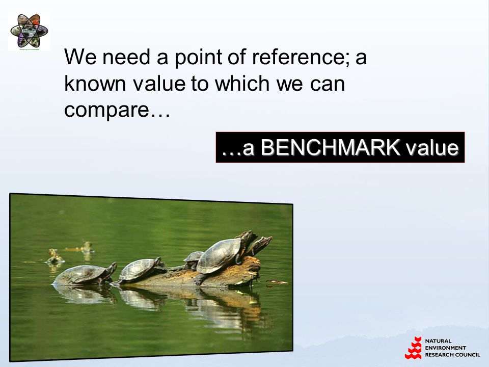 …a BENCHMARK value We need a point of reference; a known value to which we can compare…