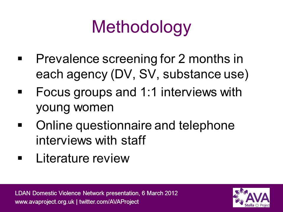Working with people affected by domestic and sexual violence and problematic substance use LDAN Domestic Violence Network presentation, 6 March 2012 www.avaproject.org.uk | twitter.com/AVAProject Prevalence:14-24 year olds Problematic substance use Sexual violenceDomestic violence 20 4 (15%) 1 5 (19%) PSUDVSV No answer001 Never121119 Previously6126 Currently611 Both previously & currently 330 Lifetime prevalence 56%59%27% 22 of 27 (81%) had experienced, or were currently experiencing, one or more of these issues 12 (45%) had experienced two or more of these issues 5 (19%)