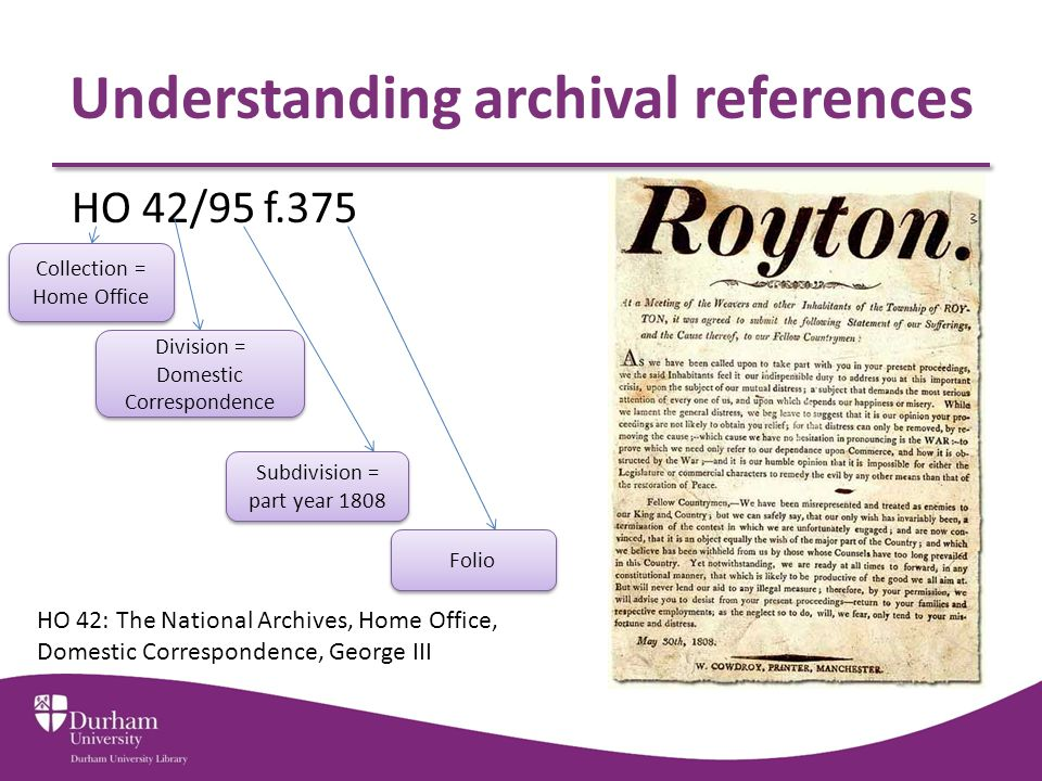 Understanding archival references HO 42/95 f.375 Collection = Home Office Division = Domestic Correspondence Subdivision = part year 1808 Folio HO 42: The National Archives, Home Office, Domestic Correspondence, George III