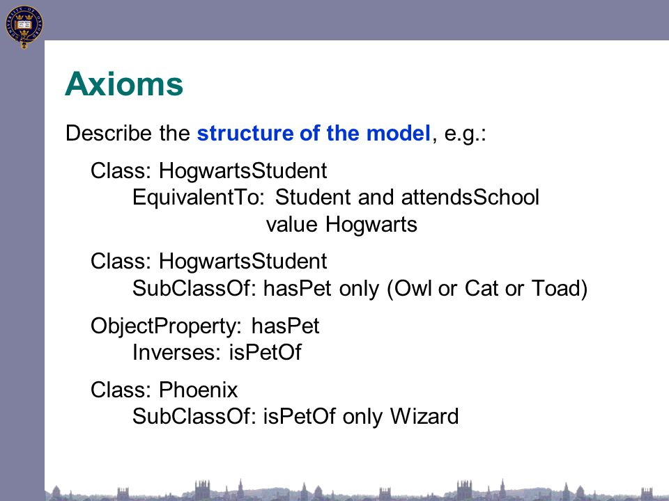 Axioms Describe the structure of the model, e.g.: Class: HogwartsStudent EquivalentTo: Student and attendsSchool value Hogwarts Class: HogwartsStudent SubClassOf: hasPet only (Owl or Cat or Toad) ObjectProperty: hasPet Inverses: isPetOf Class: Phoenix SubClassOf: isPetOf only Wizard