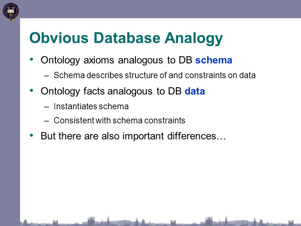 Obvious Database Analogy Ontology axioms analogous to DB schema –Schema describes structure of and constraints on data Ontology facts analogous to DB data –Instantiates schema –Consistent with schema constraints But there are also important differences…