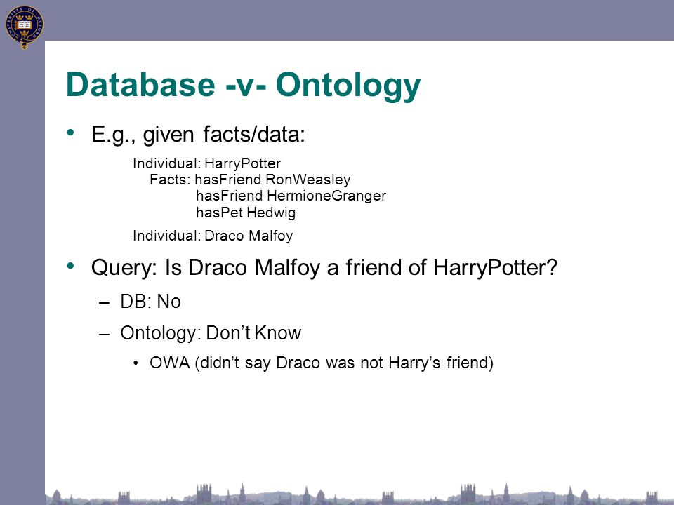 Database -v- Ontology E.g., given facts/data: Individual: HarryPotter Facts: hasFriend RonWeasley hasFriend HermioneGranger hasPet Hedwig Individual: Draco Malfoy Query: Is Draco Malfoy a friend of HarryPotter.
