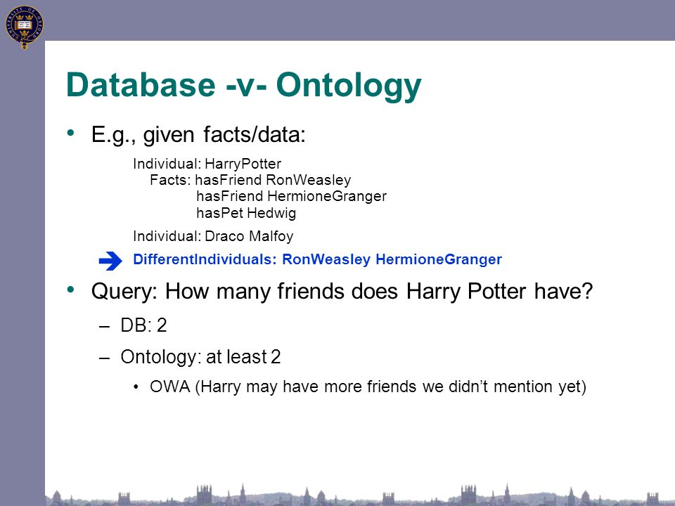 Database -v- Ontology E.g., given facts/data: Individual: HarryPotter Facts: hasFriend RonWeasley hasFriend HermioneGranger hasPet Hedwig Individual: Draco Malfoy DifferentIndividuals: RonWeasley HermioneGranger Query: How many friends does Harry Potter have.