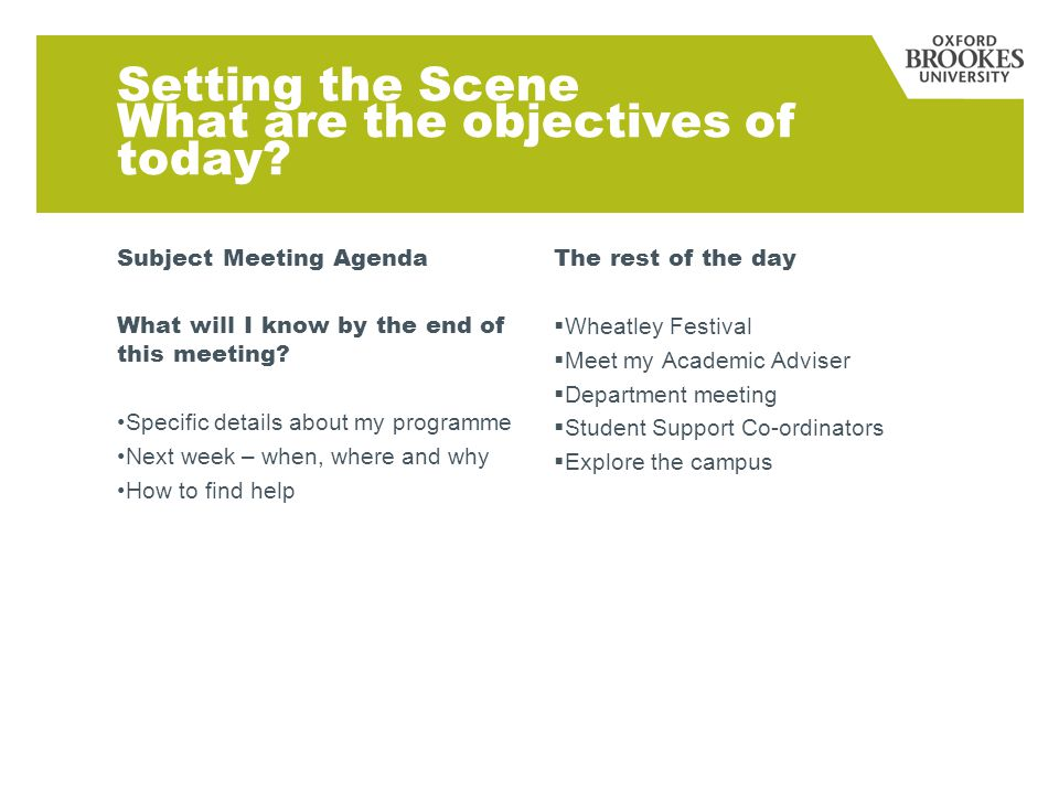 Setting the Scene What are the objectives of today.