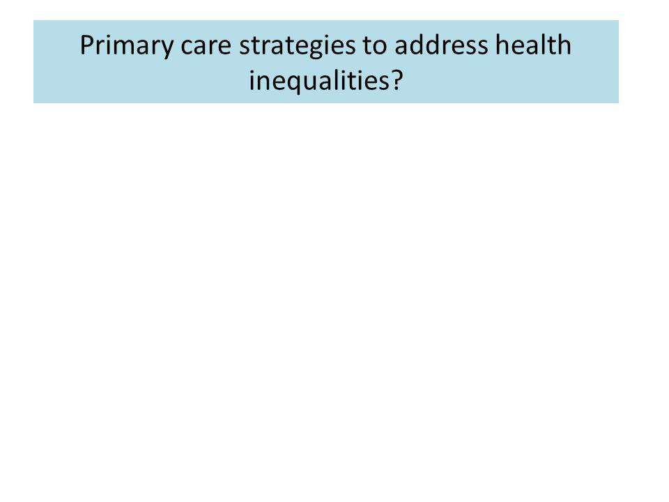 Primary care strategies to address health inequalities