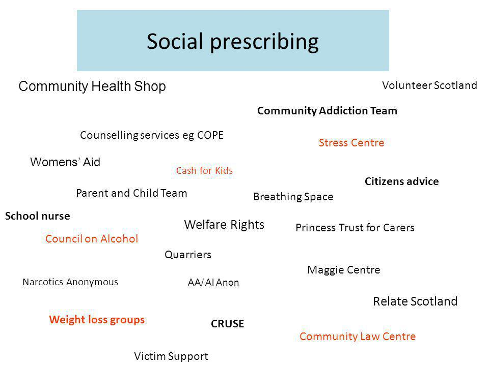 Social prescribing Community Health Shop Womens' Aid Cash for Kids Quarriers Community Addiction Team Maggie Centre Weight loss groups CRUSE Narcotics Anonymous AA/ Al Anon Stress Centre Council on Alcohol Community Law Centre Princess Trust for Carers Counselling services eg COPE Citizens advice School nurse Welfare Rights Parent and Child Team Breathing Space Relate Scotland Volunteer Scotland Victim Support
