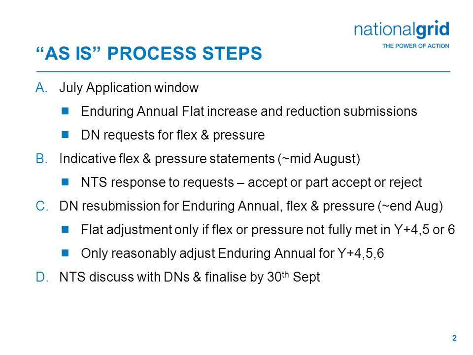 2 AS IS PROCESS STEPS A.July Application window  Enduring Annual Flat increase and reduction submissions  DN requests for flex & pressure B.Indicative flex & pressure statements (~mid August)  NTS response to requests – accept or part accept or reject C.DN resubmission for Enduring Annual, flex & pressure (~end Aug)  Flat adjustment only if flex or pressure not fully met in Y+4,5 or 6  Only reasonably adjust Enduring Annual for Y+4,5,6 D.NTS discuss with DNs & finalise by 30 th Sept
