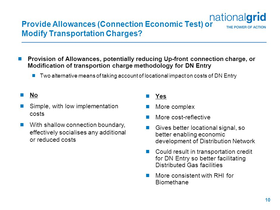 10 Provide Allowances (Connection Economic Test) or Modify Transportation Charges.