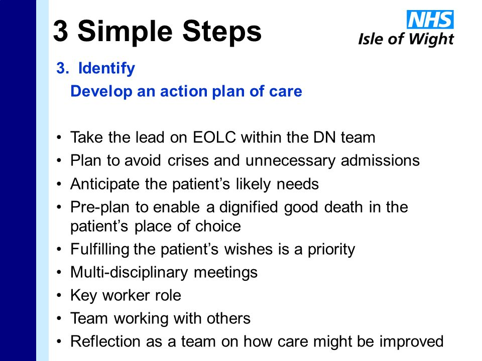 3 Simple Steps 3. Identify Develop an action plan of care Take the lead on EOLC within the DN team Plan to avoid crises and unnecessary admissions Ant