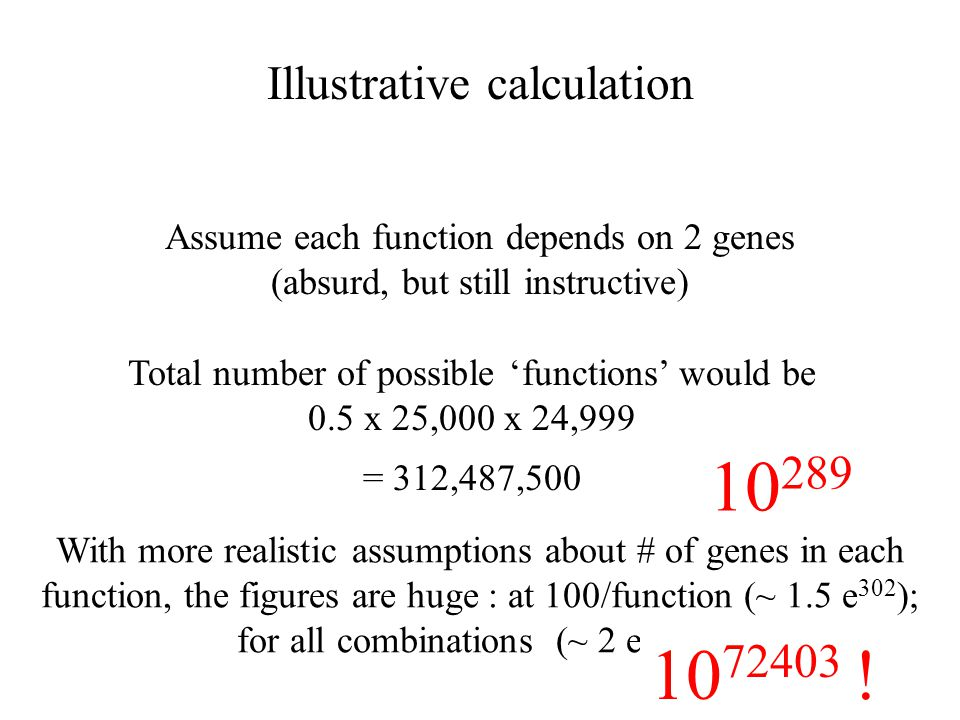 Illustrative calculation Assume each function depends on 2 genes (absurd, but still instructive) Total number of possible 'functions' would be 0.5 x 25,000 x 24,999 = 312,487,500 With more realistic assumptions about # of genes in each function, the figures are huge : at 100/function (~ 1.5 e 302 ); for all combinations (~ 2 e 166713 ) 10 289 10 72403 !
