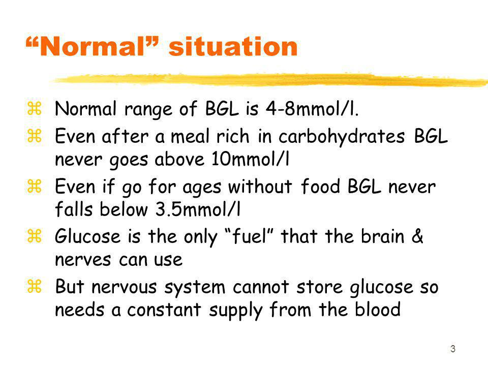 3 Normal situation zNormal range of BGL is 4-8mmol/l.