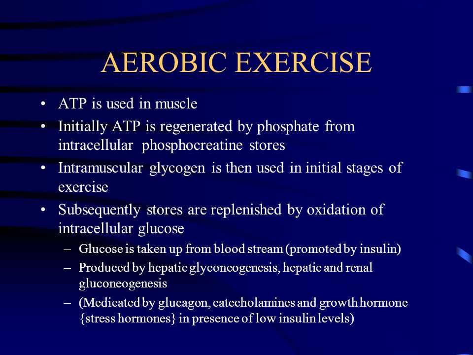 AEROBIC EXERCISE ATP is used in muscle Initially ATP is regenerated by phosphate from intracellular phosphocreatine stores Intramuscular glycogen is then used in initial stages of exercise Subsequently stores are replenished by oxidation of intracellular glucose –Glucose is taken up from blood stream (promoted by insulin) –Produced by hepatic glyconeogenesis, hepatic and renal gluconeogenesis –(Medicated by glucagon, catecholamines and growth hormone {stress hormones} in presence of low insulin levels)